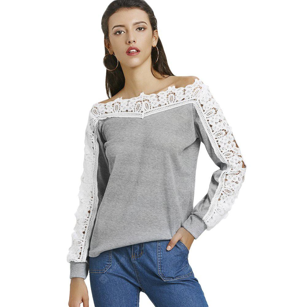 Boat Neck Long Sleeve Spliced Lace Women Blouse