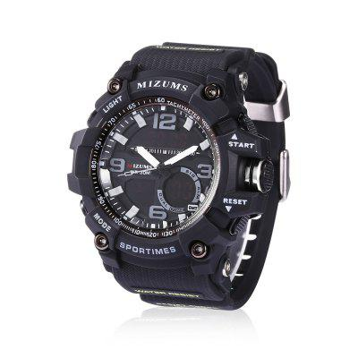 MIZUMS 8005 Dual Movt Sports LED Male WatchMens Watches<br>MIZUMS 8005 Dual Movt Sports LED Male Watch<br><br>Band Length: 7.68 inch<br>Band Material Type: Rubber<br>Band Width: 22mm<br>Case material: Alloy<br>Case Shape: Round<br>Case Thickness: 0.71 inch<br>Clasp type: Pin Buckle<br>Dial Diameter: 1.77 inch<br>Dial Display: Analog-Digital<br>Dial Window Material Type: Glass<br>Feature: Led Display, Day, Date, Chronograph, Alarm<br>Gender: Men<br>Movement: Digital,Quartz<br>Package Contents: 1 x Watch<br>Package Size(L x W x H): 11.50 x 8.50 x 6.50 cm / 4.53 x 3.35 x 2.56 inches<br>Package weight: 0.1710 kg<br>Product Size(L x W x H): 25.00 x 5.50 x 1.80 cm / 9.84 x 2.17 x 0.71 inches<br>Product weight: 0.0860 kg<br>Style: Sport<br>Water Resistance Depth: 30m