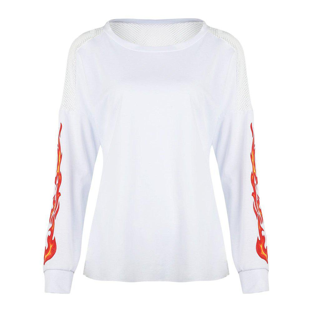 Round Collar Long Sleeve Print Spliced Mesh Women T-shirt