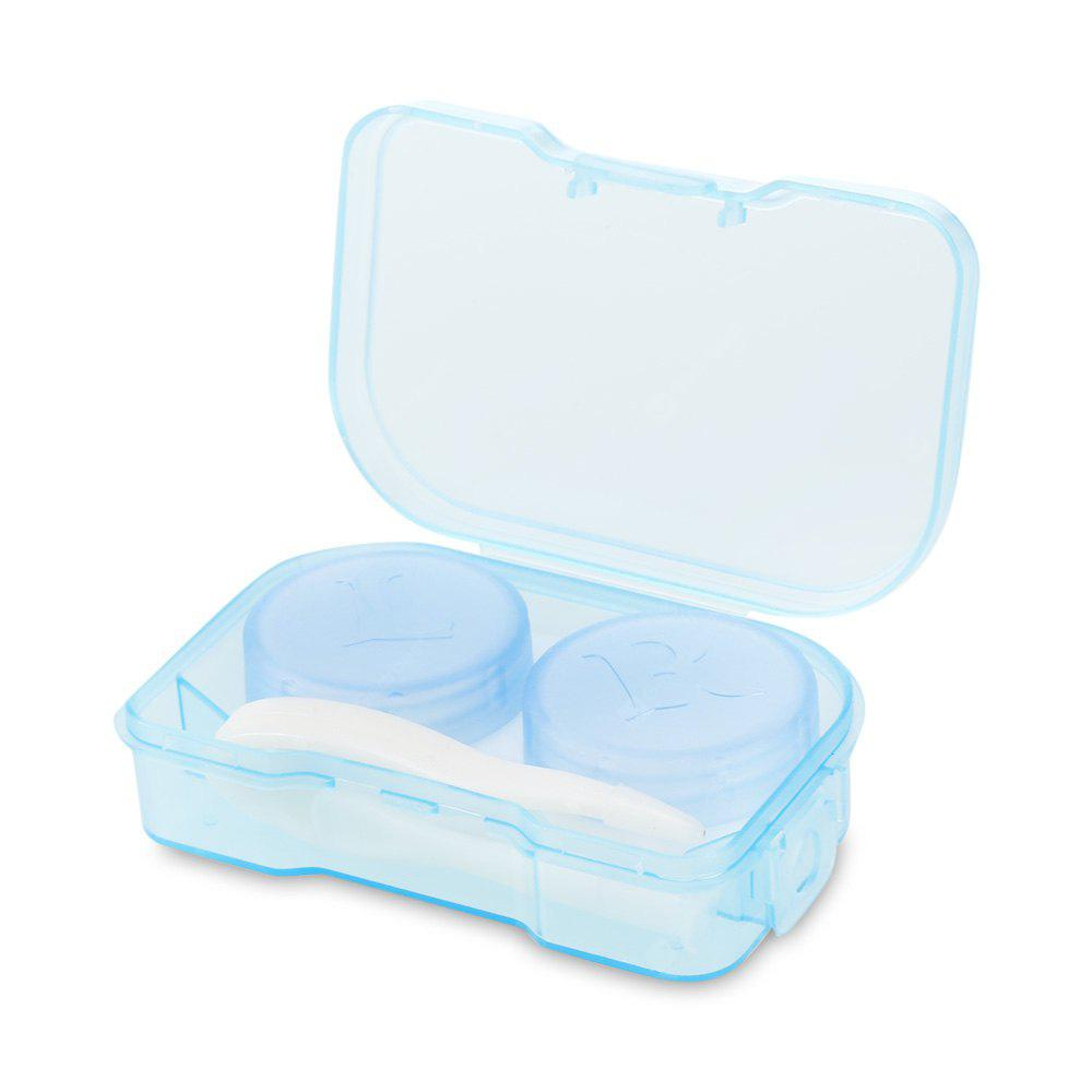 Transparent Contact Lenses Case Mirror Travel Container BLUE