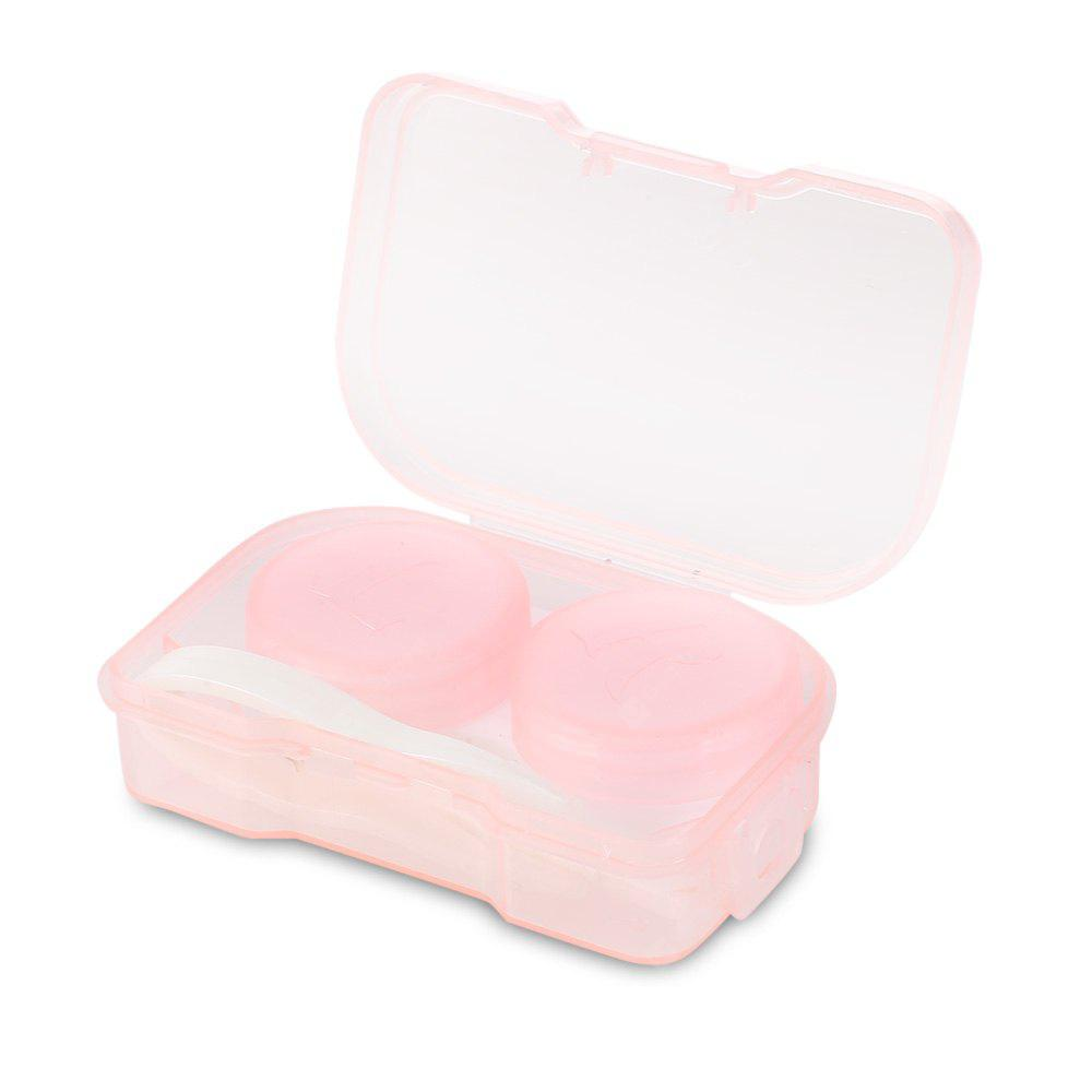Transparent Contact Lenses Case Mirror Travel Container PINK