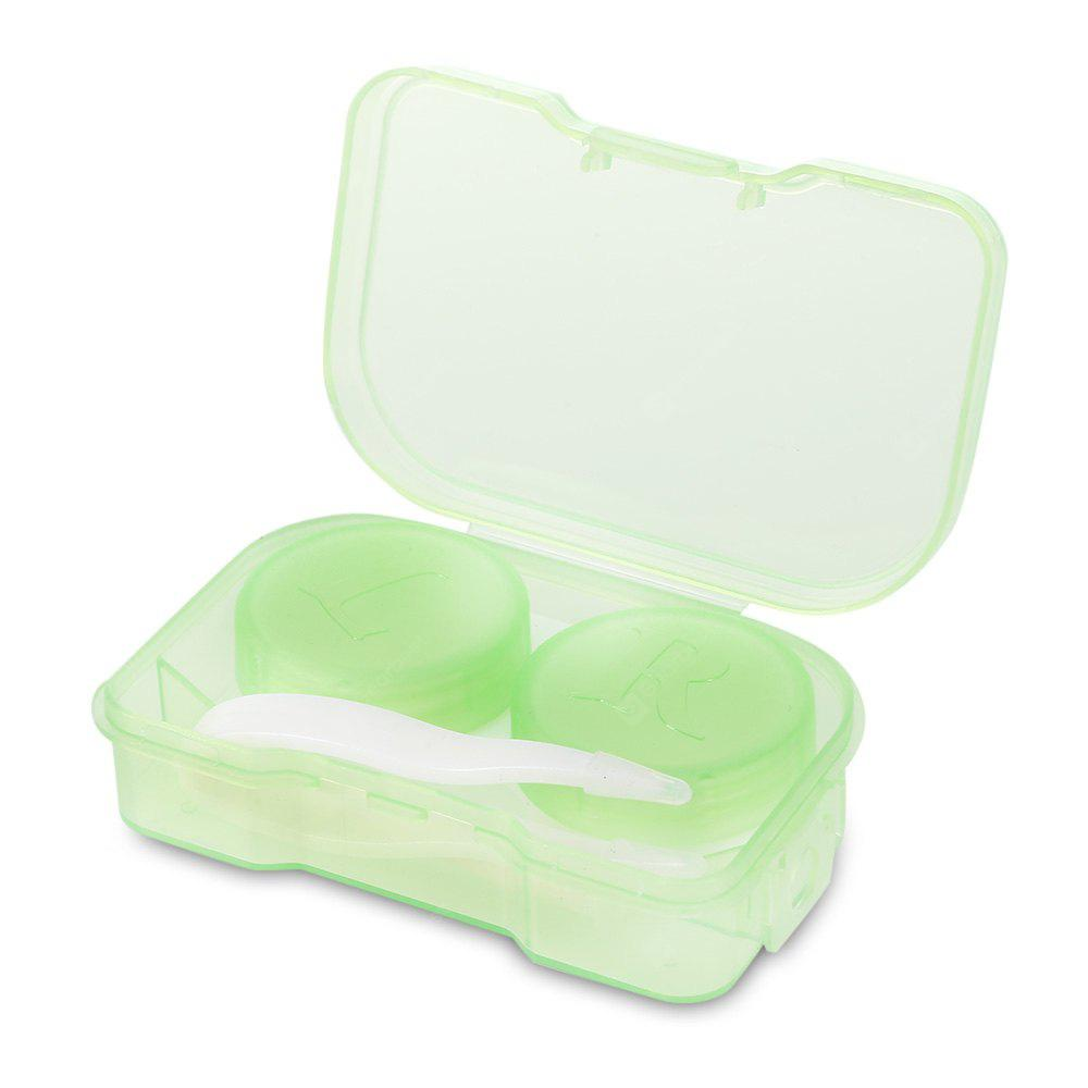 Transparent Contact Lenses Case Mirror Travel Container GREEN