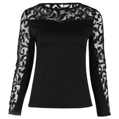 Round Collar Long Sleeve Spliced Lace Women T-shirt