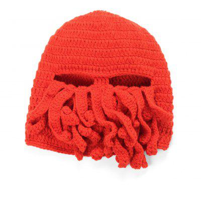 XDT-196 Squid Cap Handmade Yarn Octopus Cap Faceki Octopus Ski Cap