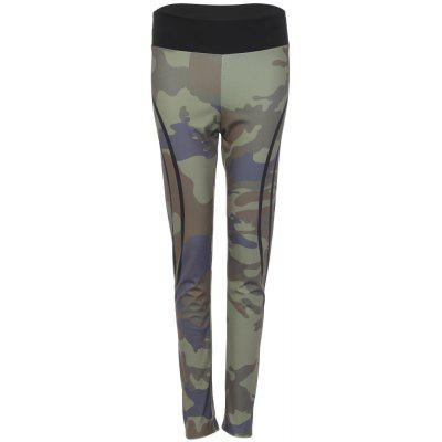 Trendy Mid taille camouflage lettre impression femmes Yoga pantalons