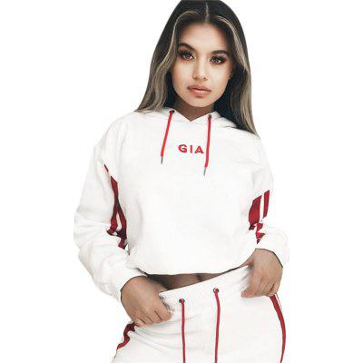 Casual Hooded Long Sleeve Stripe Print Women Sports Suit