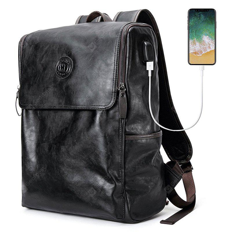 Stylish PU Leather Backpack for Men with USB Interface