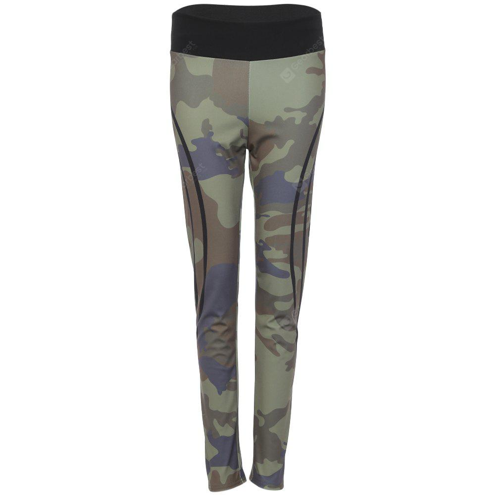 Trendy Mid Waist Camouflage Letter Print Women Yoga Pants