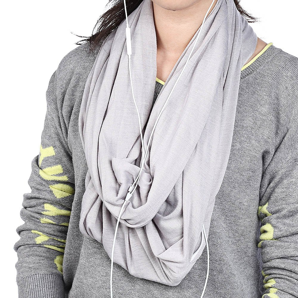 Convertible Infinity Scarf Soft Shawl with Zipper Pocket