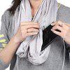 Convertible Infinity Scarf Soft Shawl with Zipper Pocket - LIGHT GRAY