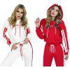 Casual Hooded Long Sleeve Stripe Print Women Sports Suit - RED