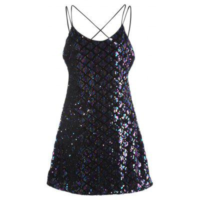 Sexy Spaghetti Strap Backless Sequins Bodycon Women Dress