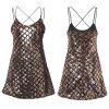 Sexy Spaghetti Strap Backless Sequins Bodycon Women Dress - GOLDEN