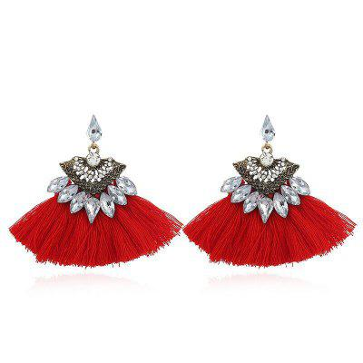 Bohemia Water Drop Crystal  Tassel Drop Earrings For Woman