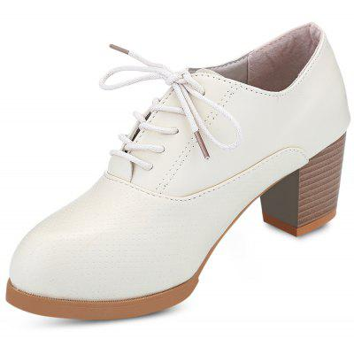 Pointed Toe Lace-up Chunky Heel Women Shoes
