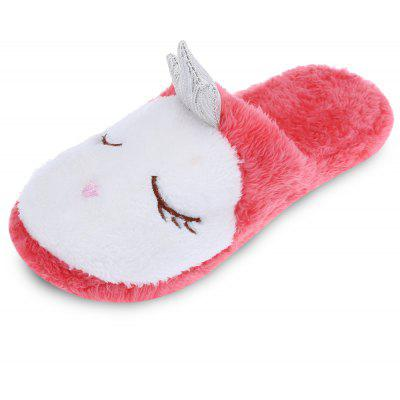 Cute Round Toe Flat Heel Fleece Women Slippers