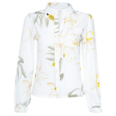 Trendy V Neck Long Sleeve Floral Print Button Women Shirt
