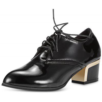 Pointed Toe Lace-up PU Chunky Heel Women Shoes