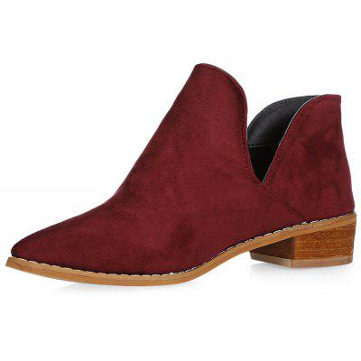Trendy Pointed Toe Chunky Heel Slip-on Women Shoes