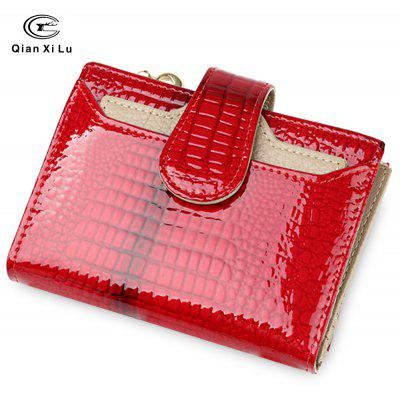 QianXiLu Women Patent Leather Short Wallet Lady Coin Purse