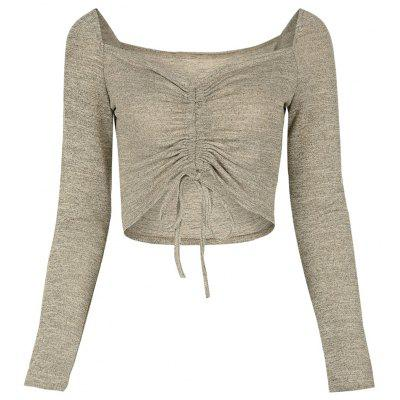 Sexy Sweetheart Neck Long Sleeve Ruched Women Crop Top