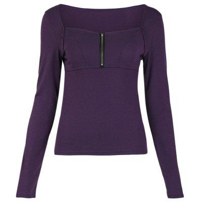 Square Neck Long Sleeve Solid Color Zipper Women T-shirt