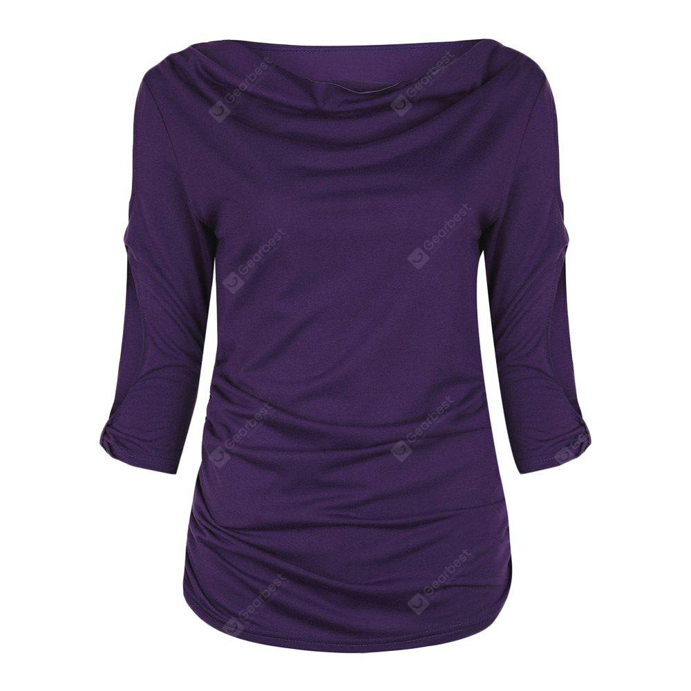 Boat Neck 3/4 Sleeve Hollow Out Ruched Women T-shirt