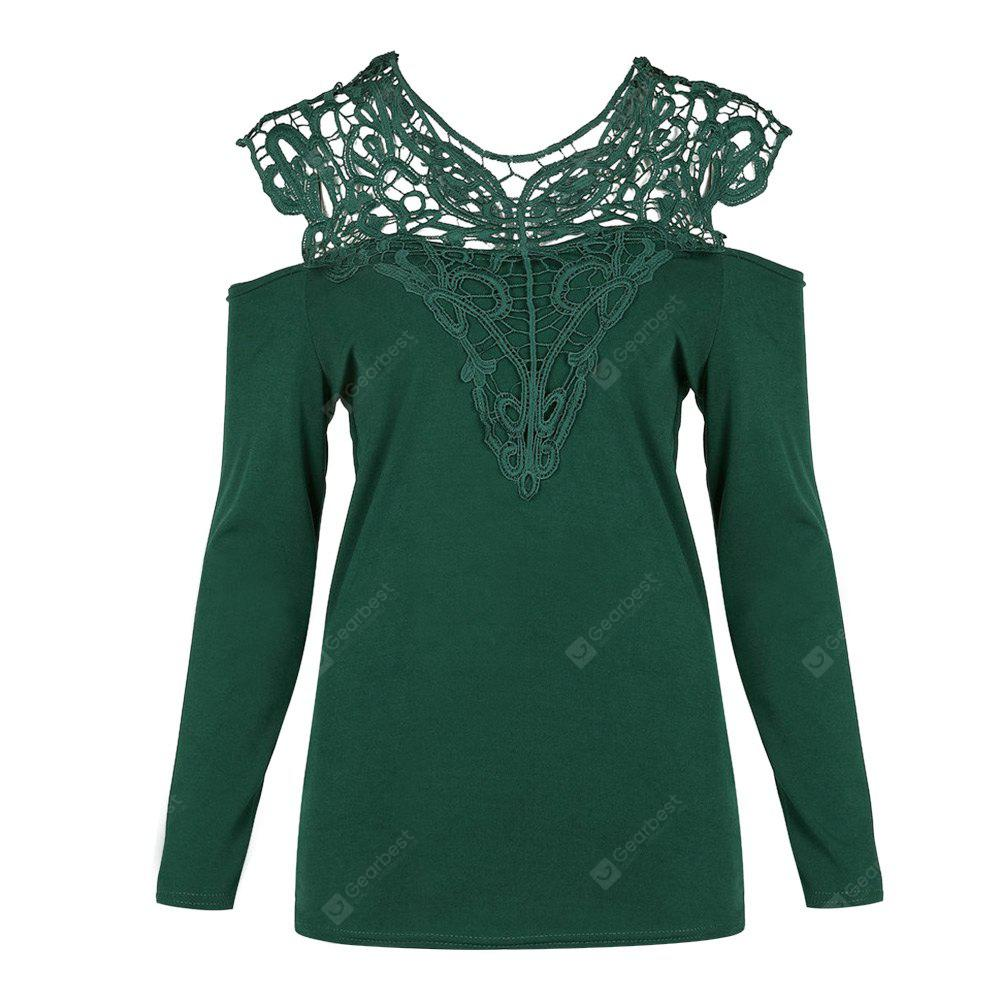V Neck Cold Shoulder Long Sleeve Lace Women T-shirt