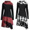 Long Sleeve Spliced Lace Plaid Women Dress - BLACK WHITE