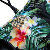 Off The Shoulder Flounce Pineapple Print Women Swimsuit - BLACK