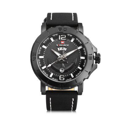 NAVIFORCE 9122 Male Quartz WatchMens Watches<br>NAVIFORCE 9122 Male Quartz Watch<br><br>Band Length: 8.27 inch<br>Band Material Type: Leather<br>Band Width: 22mm<br>Case material: Alloy<br>Case Shape: Round<br>Case Thickness: 0.39 inch<br>Clasp type: Pin Buckle<br>Dial Diameter: 1.77 inch<br>Dial Display: Analog<br>Dial Window Material Type: Hardlex<br>Feature: Luminous, Day, Date<br>Gender: Men<br>Movement: Quartz<br>Package Contents: 1 x Watch<br>Package Size(L x W x H): 11.50 x 8.50 x 7.00 cm / 4.53 x 3.35 x 2.76 inches<br>Package weight: 0.1650 kg<br>Product Size(L x W x H): 26.00 x 5.00 x 1.00 cm / 10.24 x 1.97 x 0.39 inches<br>Product weight: 0.0790 kg<br>Style: Business<br>Water Resistance Depth: 30m