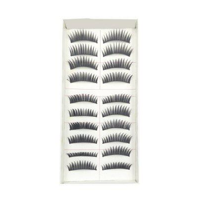 10 Pairs of Natural Long Black Stems Thick False Eyelashes