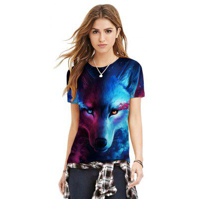 Round Collar Short Sleeve Wolf Print Women T-shirt