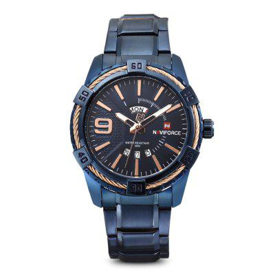 NAVIFORCE 9117 Male Calendar Quartz WatchMens Watches<br>NAVIFORCE 9117 Male Calendar Quartz Watch<br><br>Band Length: 7.09 inch<br>Band Material Type: Stainless Steel<br>Band Width: 22mm<br>Case material: Alloy<br>Case Shape: Round<br>Case Thickness: 0.39 inch<br>Clasp type: Folding Clasp with Safety<br>Dial Diameter: 1.77 inch<br>Dial Display: Analog<br>Dial Window Material Type: Hardlex<br>Feature: Luminous, Day, Date<br>Gender: Men<br>Movement: Quartz<br>Package Contents: 1 x Watch<br>Package Size(L x W x H): 11.50 x 8.50 x 7.00 cm / 4.53 x 3.35 x 2.76 inches<br>Package weight: 0.2580 kg<br>Product Size(L x W x H): 23.00 x 5.00 x 1.00 cm / 9.06 x 1.97 x 0.39 inches<br>Product weight: 0.1730 kg<br>Style: Business<br>Water Resistance Depth: 30m
