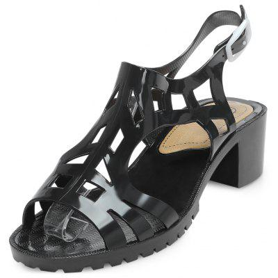 Open Toe Hollow Out Buckle Chunky Heel Women Sandals