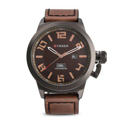 Curren 8270 Male Quartz Calendar WatchMens Watches<br>Curren 8270 Male Quartz Calendar Watch<br><br>Band Length: 8.46 inch<br>Band Material Type: Leather<br>Band Width: 24mm<br>Case material: Alloy<br>Case Shape: Round<br>Case Thickness: 0.39 inch<br>Clasp type: Pin Buckle<br>Dial Diameter: 1.89 inch<br>Dial Display: Analog<br>Dial Window Material Type: Hardlex<br>Feature: Date<br>Gender: Men<br>Movement: Quartz<br>Package Contents: 1 x Watch<br>Package Size(L x W x H): 11.50 x 8.50 x 7.00 cm / 4.53 x 3.35 x 2.76 inches<br>Package weight: 0.2030 kg<br>Product Size(L x W x H): 27.00 x 5.50 x 1.00 cm / 10.63 x 2.17 x 0.39 inches<br>Product weight: 0.0970 kg<br>Style: Simple<br>Water Resistance Depth: 30m