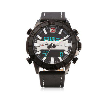 NAVIFORCE 9114 Dual Movt Sports LED Male WatchMens Watches<br>NAVIFORCE 9114 Dual Movt Sports LED Male Watch<br><br>Band Length: 8.27 inch<br>Band Material Type: Leather<br>Band Width: 24mm<br>Case material: Alloy<br>Case Shape: Round<br>Case Thickness: 0.59 inch<br>Clasp type: Pin Buckle<br>Dial Diameter: 1.77 inch<br>Dial Display: Analog-Digital<br>Dial Window Material Type: Hardlex<br>Feature: Led Display, Day, Date, Chronograph, Alarm<br>Gender: Men<br>Movement: Digital,Quartz<br>Package Contents: 1 x Watch<br>Package Size(L x W x H): 11.50 x 8.50 x 7.00 cm / 4.53 x 3.35 x 2.76 inches<br>Package weight: 0.1960 kg<br>Product Size(L x W x H): 26.00 x 5.00 x 1.50 cm / 10.24 x 1.97 x 0.59 inches<br>Product weight: 0.1100 kg<br>Style: Sport<br>Water Resistance Depth: 30m
