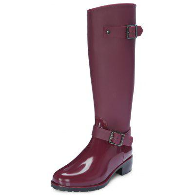 Round Toe Chunky Heel Zipper Waterproof Women Rain Boots