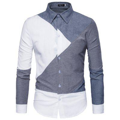European And American Wind Men's Fashion Casual Shirts Personality  Contrast Color Splicing Joint Men's Shirts