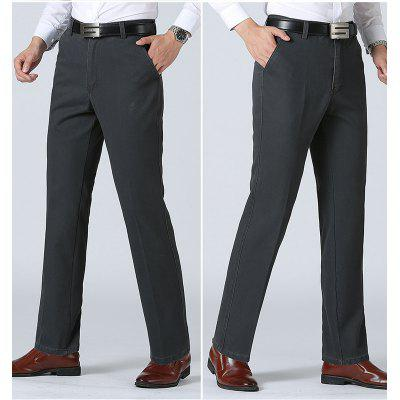The Middle-Aged Men's Casual Loose Straight Trousers Waist Dad Pants