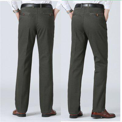 The Middle-Aged Men\'s Casual Loose Straight Trousers Waist Dad Pants