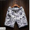 Summer Men's Beach Five Sub Pants Leisure Loose Tube Men's Hawaii Flower Shorts(5126) - BLACK + WHITE