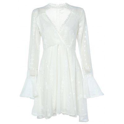 V Neck See-through Bell Sleeve Lace Women A-line Dress