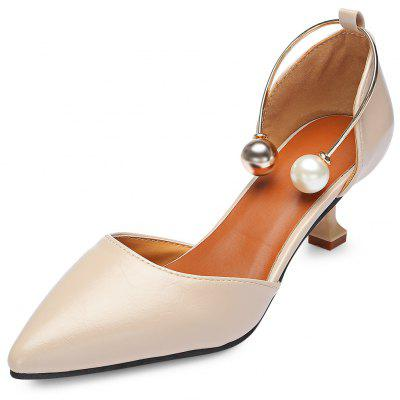 Pointed Toe Stiletto Heel Bead Slip-on PU Women Shoes