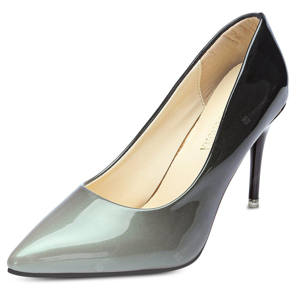 Pointed Toe Stiletto Heel Slip-on Gradient Color Women Shoes