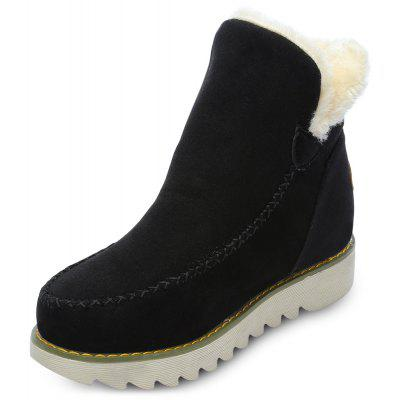 Round Toe Suede Fleece Slip-on Flat Heel Women Ankle Boots