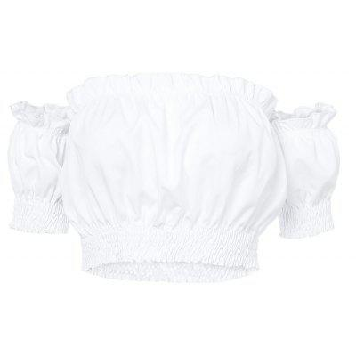 Buy WHITE L Off The Shoulder Short Sleeve Ruffled Women Crop Top for $8.95 in GearBest store