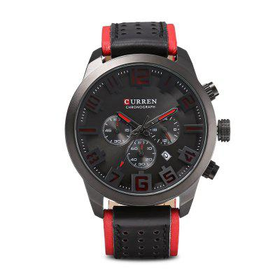 CURREN 8289 Male Quartz Leather Strap Wristwatch for MenMens Watches<br>CURREN 8289 Male Quartz Leather Strap Wristwatch for Men<br><br>Band Length: 8.35 inch<br>Band Material Type: Leather<br>Band Width: 24mm<br>Case material: Acrylic<br>Case Shape: Round<br>Case Thickness: 13mm<br>Clasp type: Pin Buckle<br>Dial Diameter: 1.61 inch<br>Dial Display: Analog<br>Dial Window Material Type: Hardlex<br>Gender: Men<br>Movement: Quartz<br>Package Contents: 1 x Watch<br>Package Size(L x W x H): 8.40 x 11.50 x 7.00 cm / 3.31 x 4.53 x 2.76 inches<br>Package weight: 0.1910 kg<br>Product Size(L x W x H): 26.60 x 5.20 x 1.30 cm / 10.47 x 2.05 x 0.51 inches<br>Product weight: 0.0850 kg<br>Style: Business<br>Water Resistance Depth: 30m