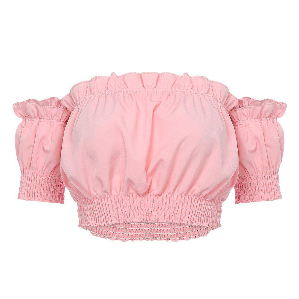 Off The Shoulder Short Sleeve Ruffled Women Crop Top