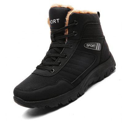 Buy BLACK 43 Men Casual Winter Warm Rubber Trend for Fashion Lace Up Cotton Suede Ankle Boots for $26.99 in GearBest store